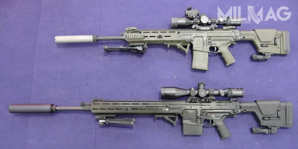 Porównanie samopowtarzalnych karabinów wyborowych, powyżej SKW308 do amunicji 7,62 mm x 51 z 508-mm lufą, poniżej SKW338 do naboju 8,6 mm x 70 z lufą długości 660 mm