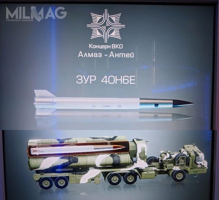 Pokazany podczas prezentacji multimedialnej pocisk tojednostopniowy 48N6E3/48N6DM, aniedwustopniowy 40N6E. Niezgadza się również liczba kontenerów startowych natransporterze-wyrzutni BAZ-69096 / Grafika: WKO Ałmaz-Antiej
