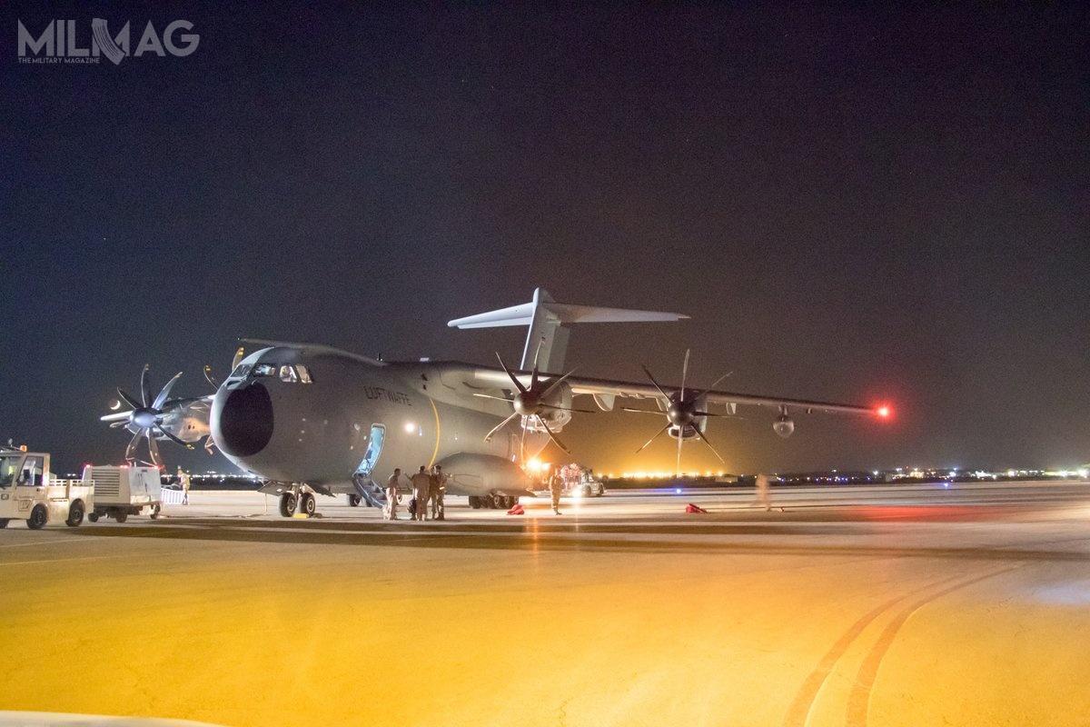 A400M wylądował wpołożonej 80 km nawschód odAmmanu bazie lotniczej Szachid Mwaffak 6lipca około godz.21.20 czasu lokalnego