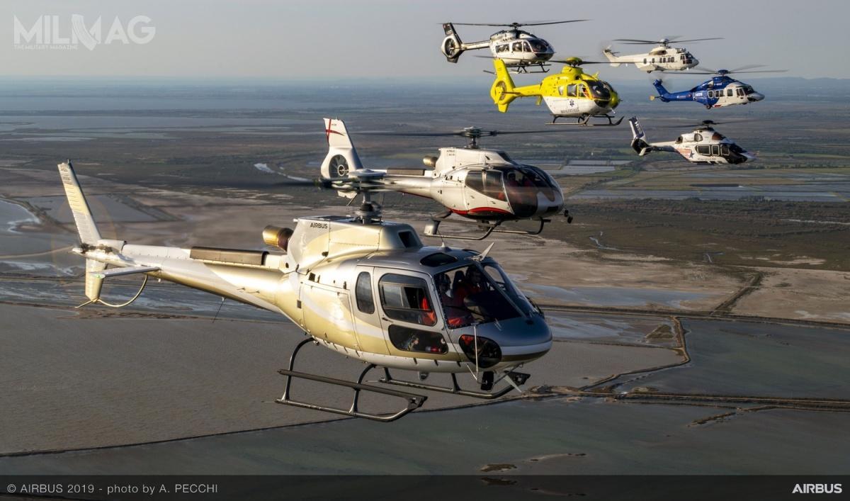 W 2019 Airbus Helicopters sprzedał 130 lekkich śmigłowców typu H125, 38 lekkich H130, 41 lekkich H135, 91 lekkich H145, 3morskie AS365 Dauphin, 10 średnich H160, 4średnie H175, 29 zrodziny Super Puma oraz23 wielozadaniowe NH90