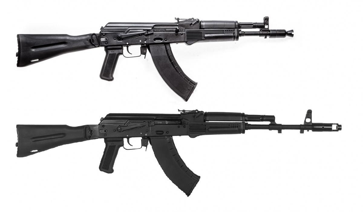 AK-203 iAK-204 tounowocześnione wersje karabinków AK-103 iAK-104. Zachowano identyczne długości luf, alewprowadzenie modyfikacji broni spowodowało wzrost masy do3,6 kg /Zdjęcia: Koncern Kałasznikow