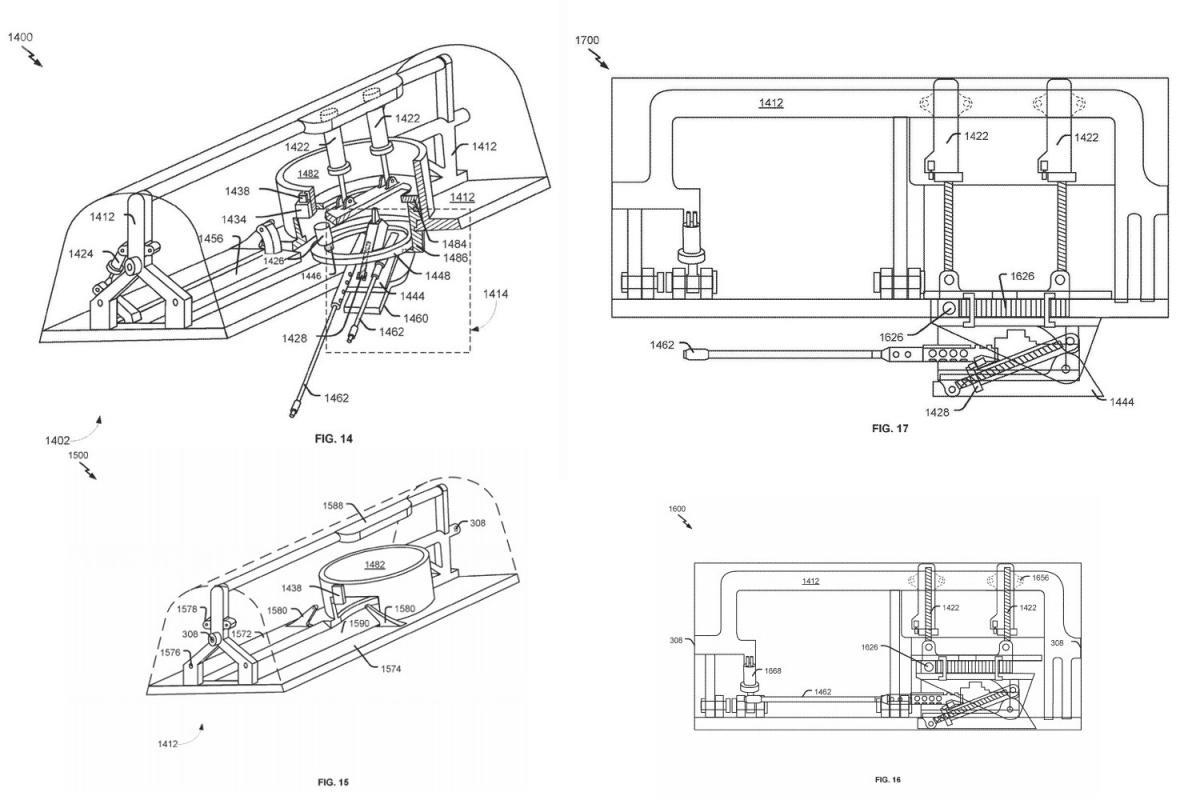 Trzeci wariant opcjonalnego systemu artyleryjskiego, którymożna zamocować wkomorze bombowej B-1B / Rysunki: USPTO