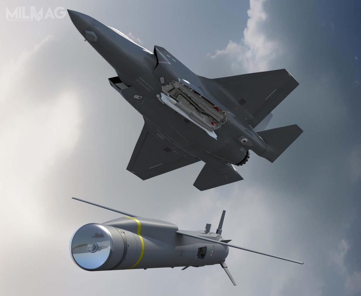 F-35B ma być zdolny doprzenoszenia 8pocisków SPEAR (Capability 3), po4wkażdej zdwóch komór uzbrojenia. Jednocześnie będzie mógł przenosić pociski Meteor, pojednym zkażdej zkomór / Grafiki: MBDA