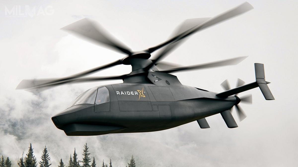Dwuwirnikowy wiropłat zogonowym śmigłem pchającym Sikorsky Raider X ma być rozwinięciem oblatanego w2015 demonstratora technologii S-97 Raider / Grafika: Sikorsky/Lockheed Martin