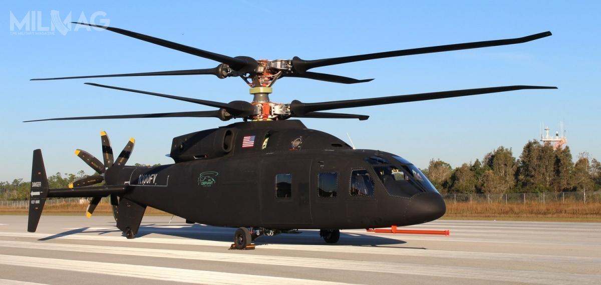 Zespół konstruktorów Boeinga iSikorsky'ego (będącego częścią Lockheed Martin) zaoferował śmigłowiec zewspółosiowym układem dwuwirnikowym zprzeciwbieżnymi wirnikami sztywnymi iśmigłem pchającym / Zdjęcie: Boeing