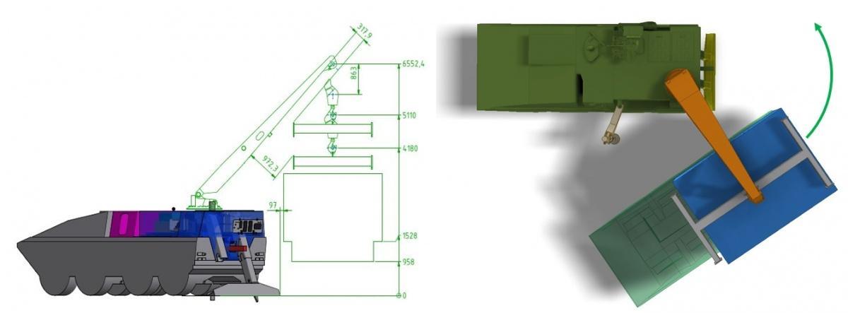 Zabudowa Berge umożliwia przeprowadzenie standardowych napraw wwarunkach polowych, takich jak wymiana zespołu napędowego (także własnego) czypodnoszenie pojazdu dowymiany koła / Zdjęcia igrafika: Flensburger Fahrzeugbau