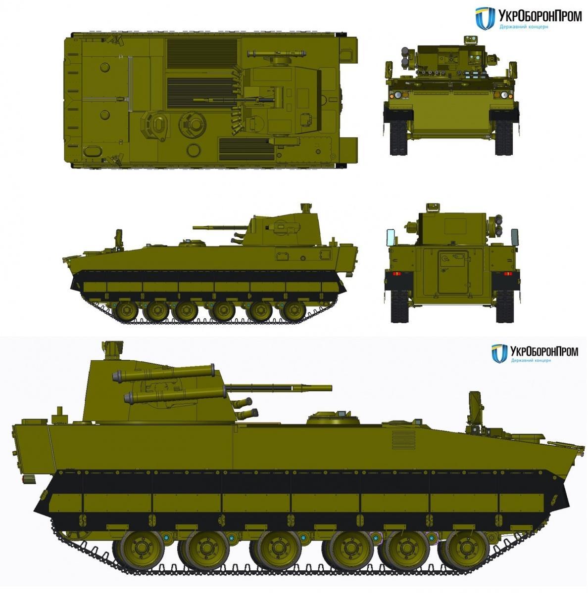 BMP-U zostanie wyposażony wzmodernizowaną, bezzałogową wieżę BM-8 z30-mm armatą automatyczną, wyrzutnią granatów dymnych, km orazwyrzutniami ppk R-2 Barrier-W / Grafiki: SC UkrOboronProm