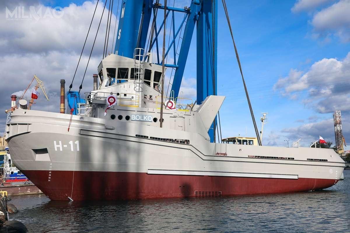 ORP Bolko (H-11) ma 29,2 m długości, 10,4 m szerokości, 4,2 m zanurzenia oraz4,95 m wysokości. Wyporność wynosi ok. 332 t iuciąg co najmniej 35 t.