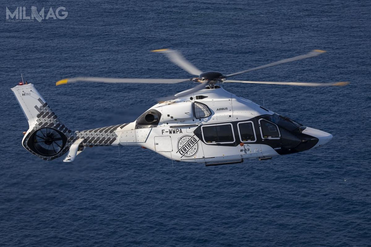 Lekki śmigłowiec wielozadaniowy Airbus Helicopters H160 uzyskał certyfikat typu Europejskiej Agencji Bezpieczeństwa Lotniczego EASA, ajeszcze wtym roku otrzyma certyfikat amerykańskiej Federalnej Administracji Lotnictwa FAA, co otwiera drogę dorozpoczęcia dostaw dla użytkowników poobu stronach Atlantyku / Zdjęcie: Eric Raz, Airbus Helicopters