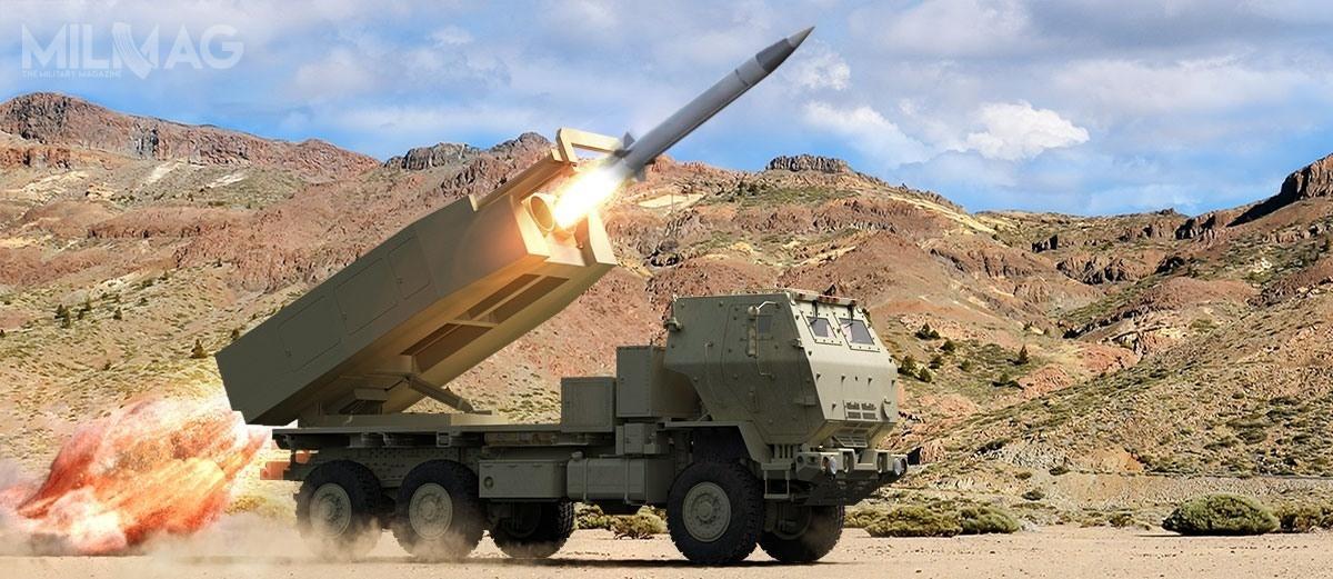 Kołowa wyrzutnia M142 HIMARS ma przenosić dwa pociski DeepStrike wkontenerze, acięższa gąsienicowa M270 MLRS – cztery wdwóch kontenerach. Oznacza todwukrotne zwiększenie liczby wporównaniu zATACMS / Grafika: Raytheon