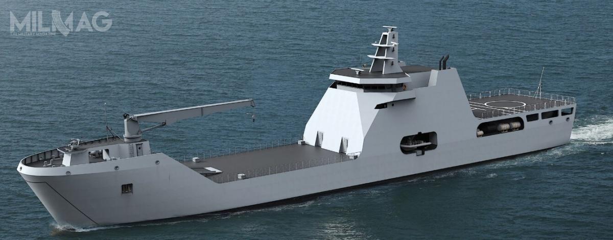 Okręt będzie transportował do234 żołnierzy lub pojazdy opancerzone. Będzie wykorzystywany dostrategicznego transportu wojsk orazrealizacji operacji humanitarnych iewakuacji/ Grafiki: Damen Shipyard Group