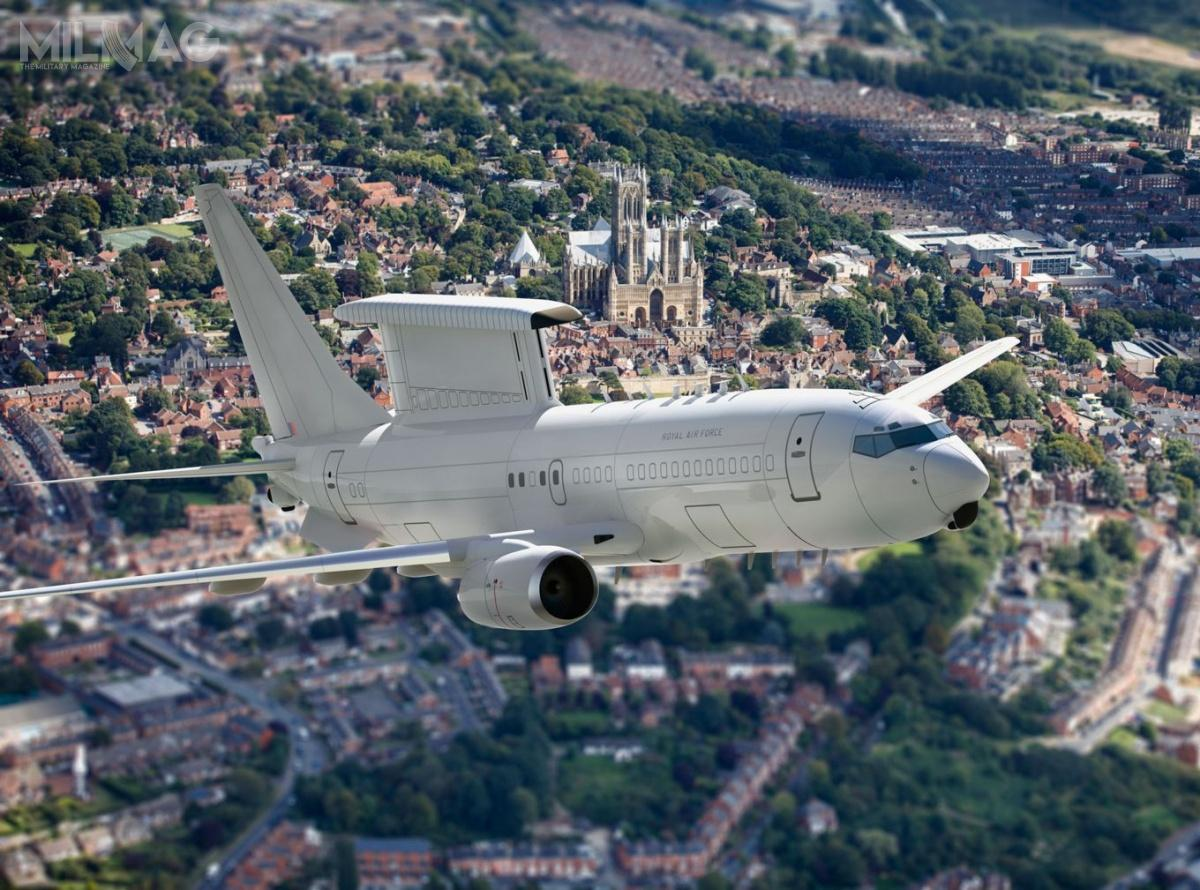 Sercem systemów E-7A jest opracowany przezNorthrop Grumman ipracujący wpaśmie L wielozadaniowy radar zeskanowaniem elektronicznym MESA  / Grafika: Ministerstwo Obrony Wielkiej Brytanii