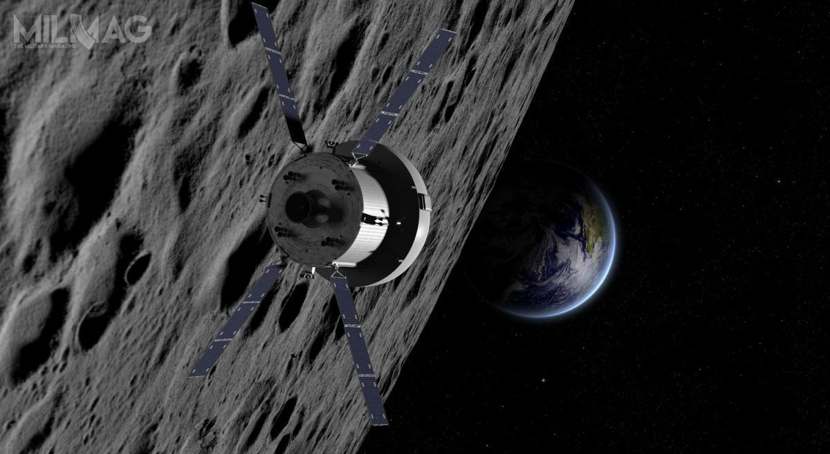 Kapsuła Orion wraz zmodułem ESM zostaną wyniesione wkosmos zapomocą potężnej rakiety nośnej SLS wramach bezzałogowej misji Exploration Mission-1 w2020. Misja ma nacelu dostarczenie kapsuły ponad 64 tys. km poza orbitę Księżyca.