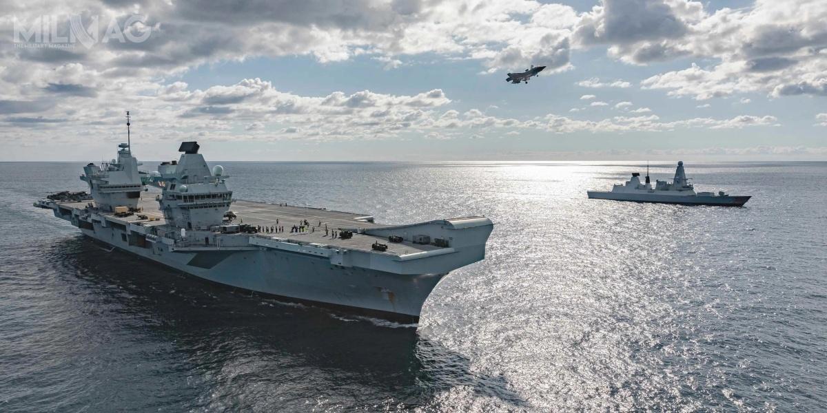 W 2021 grupa bojowa brytyjskiego lotniskowca, weskorcie dwóch niszczycieli, dwóch fregat, atomowego okrętu podwodnego, dwóch jednostek wsparcia orazzbrytyjskimi iamerykańskimi samolotami F-35B napokładzie, zrealizuję pierwszą misję naOceanach Atlantyckim, Indyjskim iSpokojnym / Zdjęcie: Royal Navy