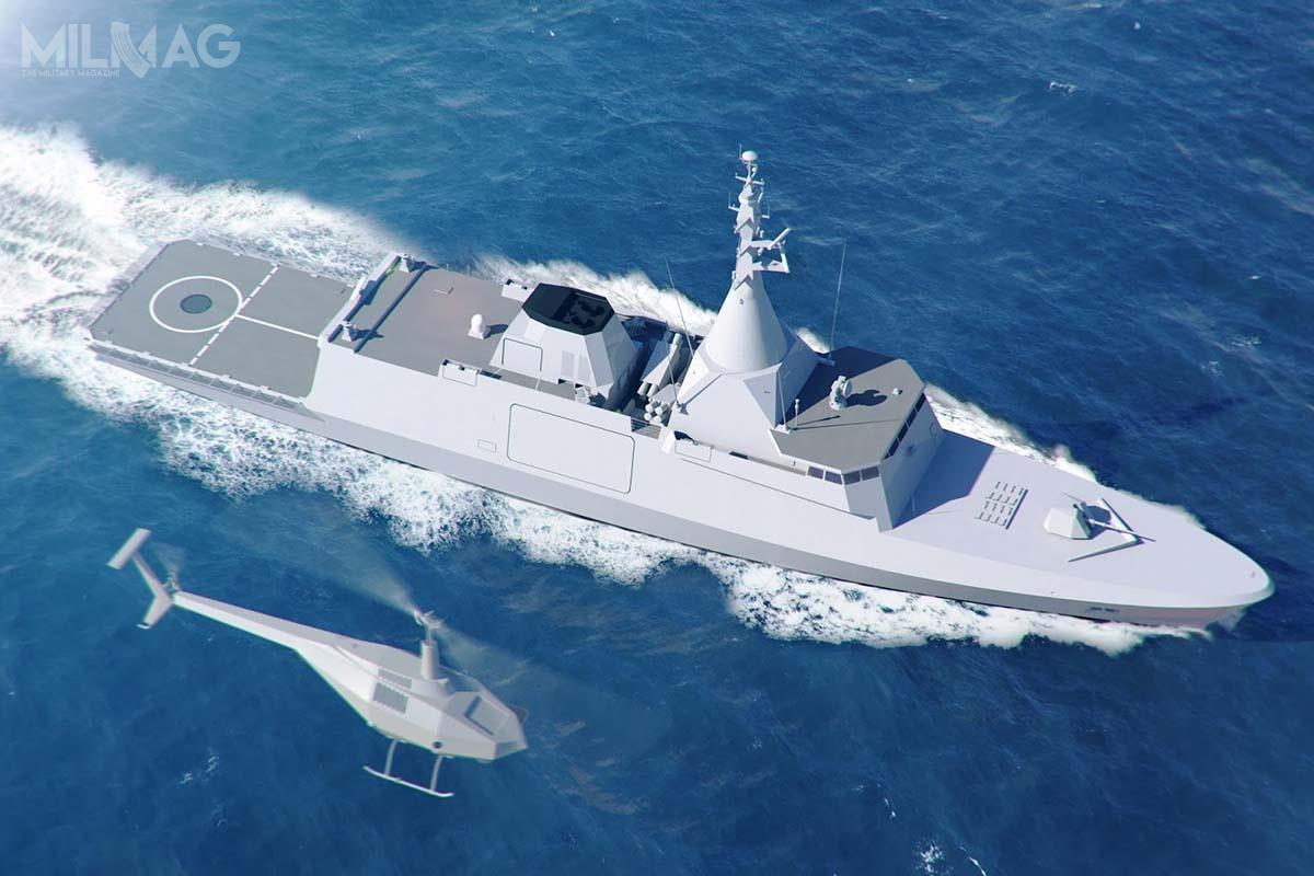 Wymogiem zamawiającego była możliwość przenoszenia 10-tonowego śmigłowca, co najmniej 16-komorowa wyrzutnia pocisków przeciwlotniczych izdolność zwalczania celów nawodnych. Okręty zostaną uzbrojone wpociski przeciwlotnicze MBDA VL MICA-M iprzeciwokrętowe Exocet MM40. Gowind 2500 ma 102 m długości, 16 m szerokości i2600 t wyporności. Zintegrowany maszt mieści moduł czujników PSIM, wtym trójwspółrzędny radar obserwacji powietrznej inawodnej SMART-S, radar nawigacyjny, systemy walki elektronicznej Vigile 200 iAltesse orazsystemy łączności / Grafika: Naval Group