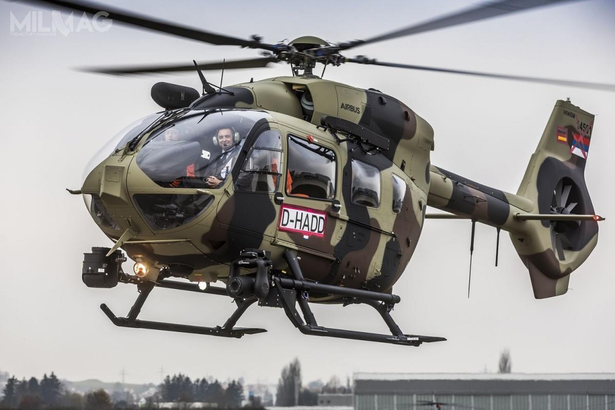 HForce może być dostosowany doprzenoszenia zasobników strzeleckich, 70-mm pocisków rakietowych naprowadzanych laserowo, ppk, pocisków przeciw-okrętowych iprzeciwlotniczych. System, działający nazasadzie plug-and-play, może być instalowany naśmigłowcach H125M, H145M czyH225M / Zdjęcie ifilm: Airbus Helicopters