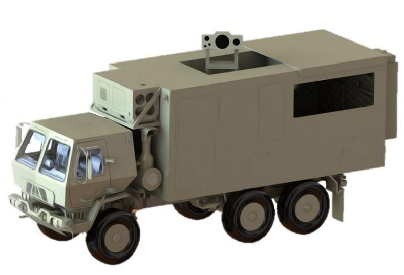 System laserowy Raytheona omocy 100 kW ma być osadzony napojazdach ciężarowych typu FMTV / Grafika: US Army SMDC