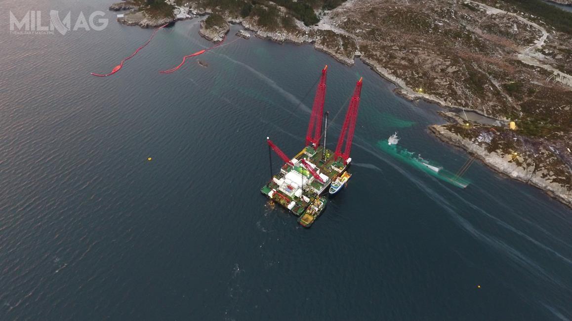 Podczas gdytrwają przygotowania dopodniesienia zalanej fregaty rakietowej HNoMS Helge Ingstad, norweskie komisje AIBN iDAIBN opublikowały wstępny raport, wktórymzawarto krytyczne uwagi zarówno podadresem załogi okrętu wojennego, jak ibudowniczych jednostki / Zdjęcie: Sjøforsvaret