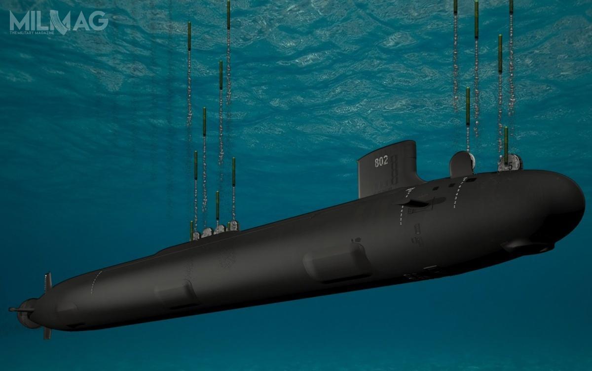 Pierwszym nosicielem szybujących pocisków hipersonicznych wUS Navy zostaną wielozadaniowe okręty podwodne onapędzie atomowym typu Virginia Block V / Grafika: General Dynamics Electric Boat