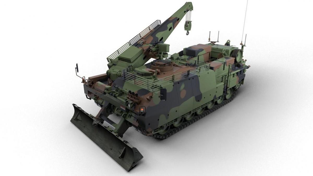 Holandia podpisała zniemiecką spółką Rheinmetall umowę namodernizację 25 (czterech wramach zamówienia gwarantowanego i21 wopcji) wozów zabezpieczenia technicznego Bergepanzer 3Büffel / Rysunek: Rheinmetall