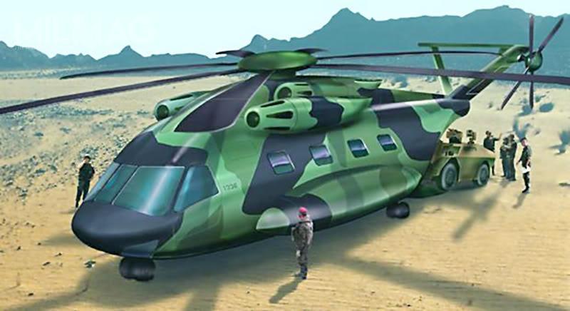 W przeszłości Francja iNiemcy planowały wspólne pozyskanie ciężkich śmigłowców transportowych. Wpoczątkowej fazie programu HTH, konsorcjum Eurocopter prezentowało koncepcje bazujące narozwiązaniach istniejących CH-53 iCH-47. / Grafika: Eurocopter