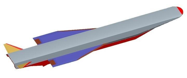 Wstępny projekt pocisku HSTDV ukończono w2004 zpomocą Izraela, Wielkiej Brytanii iRosji. Ma masę około 1tony orazdługość 5,6 m, zczego 3,7 m towlot powietrza wraz zsilnikiem strumieniowym umieszczonym wśrodkowej części kadłuba. Doprób wtunelu aerodynamicznym używano modelu wskali 1:16 / Zdjęcie igrafika: ministerstwo obrony Indii
