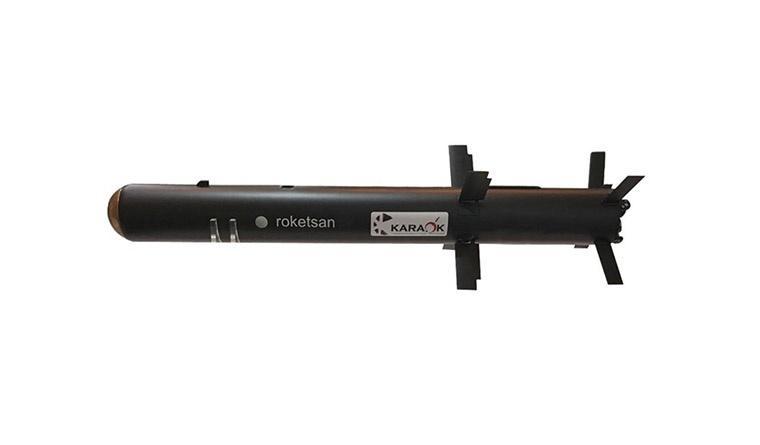 KARAOK/Mizrak-K, któryzostał opracowany jako ppk krótkiego zasięgu (KMTAS) ma uzupełniać ofertę Roketsan wraz zsystemami średniego idalekiego zasięgu, odpowiednio,  OMTAS/Mizrak-O iUMTAS/Mizrak-U. /Zdjęcie: Roketsan