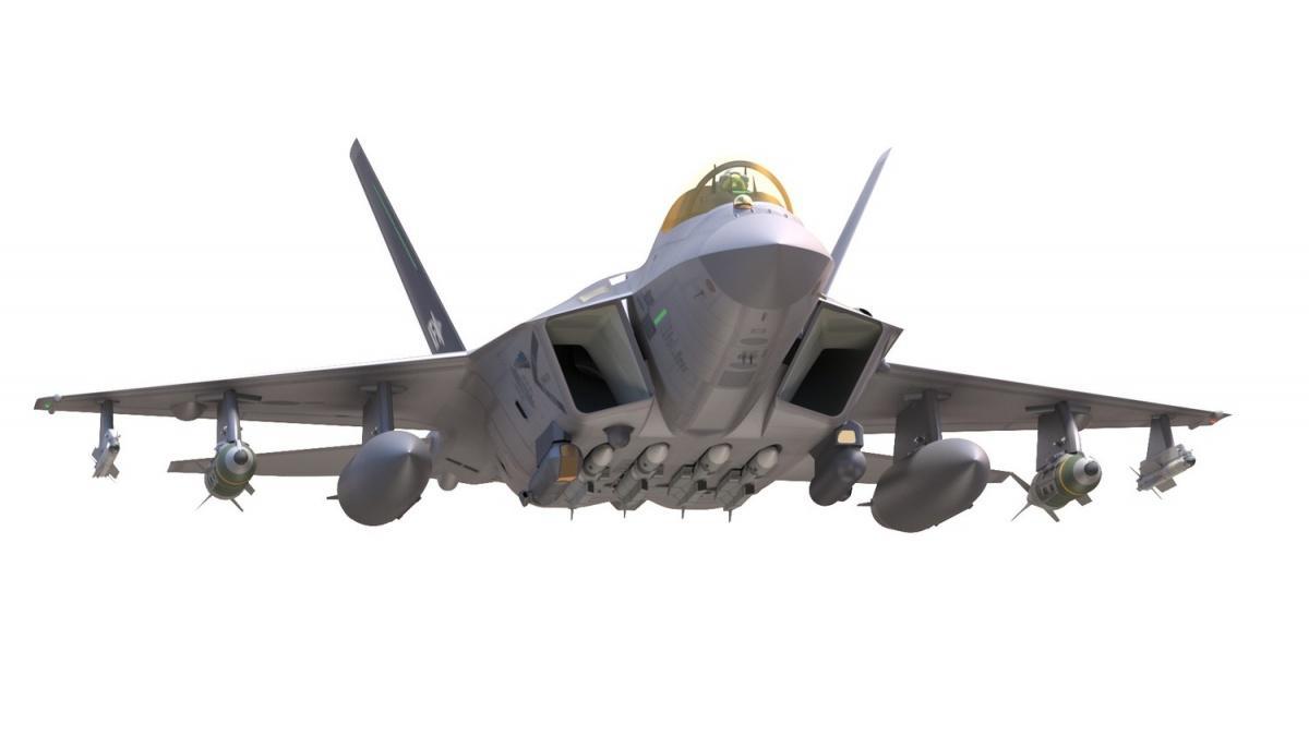 Na grafice ujawniono konfigurację uzbrojenia, złożoną m.in.zczterech pocisków powietrze-powietrze dalekiego zasięgu MBDA Meteor, znajdujących się podkadłubem orazdwóch pocisków powietrze-powietrze krótkiego zasięgu Diehl IRIS-T podskrzydłami. Widać także zasobnik celowniczy, podwieszane zbiorniki paliwa ibomby GBU-31 JDAM / Grafiki: KAI