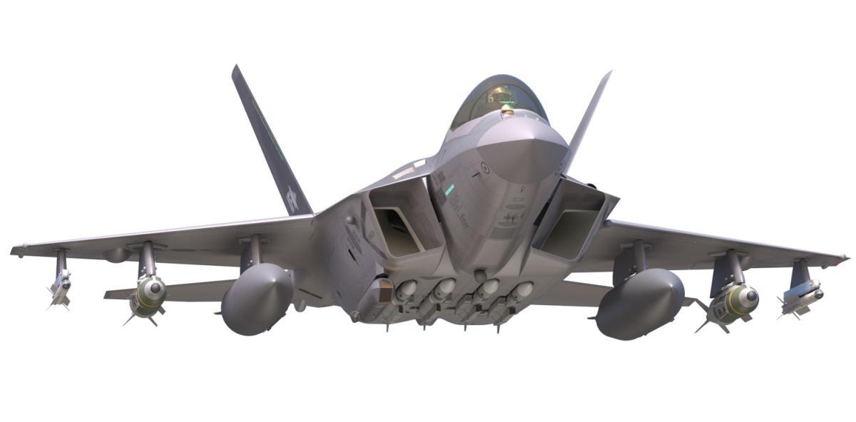 Na wizualizacji KF-X został przedstawiony zczterema pociskami MBDA Meteor podwieszonymi podkadłubem, atakże dwoma pociskami Diehl IRIS-T, dwoma bombami GBU-31 JDAM idwoma podwieszanymi zbiornikami paliwa podskrzydłami. Natomiast makieta została pokazana również zzasobnikiem celowniczy Sniper XR ATP. Samoloty mają przenosić także pocisk manewrujący, którypowstanie woparciu oniemiecki Taurus KEPD 350. Niejest jasne, czysamoloty zostaną zintegrowane zamerykańskimi AIM-120D AMRAAM iAIM-9X Sidewinder / Grafika: Korea Aerospace Industries