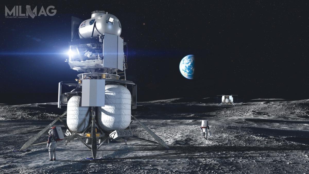 Wydaje się, żekoncepcja trójstopniowego lądownika ILV jest najbliższa wizji NASA ima największe szanse narealizację/ Grafika: Blue Origin