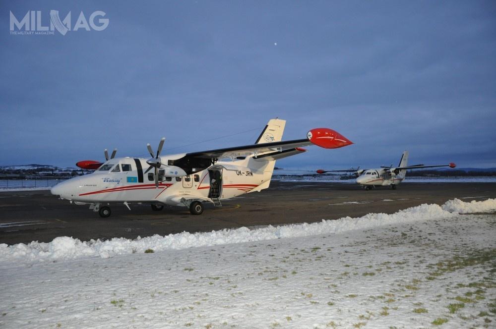 L 410 UVP E-20 ma 14,42 m długości, 19,98 m rozpiętości skrzydeł i5,97 m wysokości. Masa pustego samolotu to4200 kg, natomiast maksymalna masa startowa wynosi 6600 kg. Dwa silniki turbinowe General Electric H80-200 omocy 800 KM (597 kW) każdy, napędzające pięciołopatowe śmigła Avia AV 725, zapewniają prędkość przelotową 405 km/h izasięg do510 km przy ładunku 1500 kg (zasięg maksymalny to1500 km) / Zdjęcie: LET Aircraft Industries