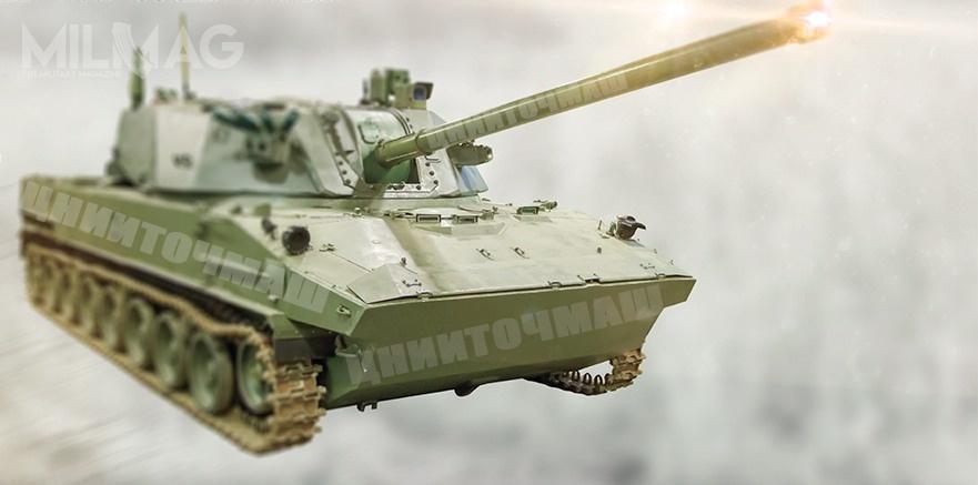 120-mm moździerz samobieżny 2S42 Lotos powstaje jako rozwinięcie zarzuconego projektu 152-mm moździerza 2S36 Zauralec-D izastąpi zestawy 2S9 Nona-S wwojskach powietrzno-desantowych (WDW) / Grafika: CNIIToczMasz