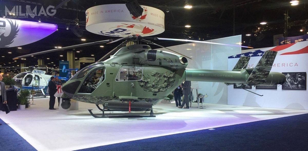MD969 Swift wyposażono wgłowice elektrooptyczną orazpylony zsześcioma węzłami dopodwieszenia uzbrojenia/ Zdjęcie ifilm: MD Helicopters.