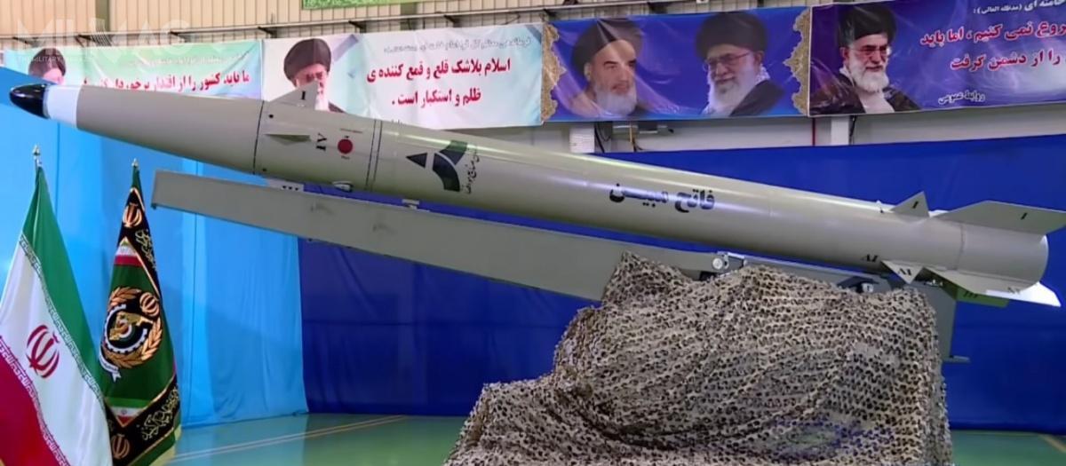 Fateh Mobin, jest drugim poOrmuz-2, przeciw-okrętowym rakietowym pociskiem balistycznym, opracowanym wIranie./Zdjęcie: Ministerstwo Obrony iLogistyki Iranu.