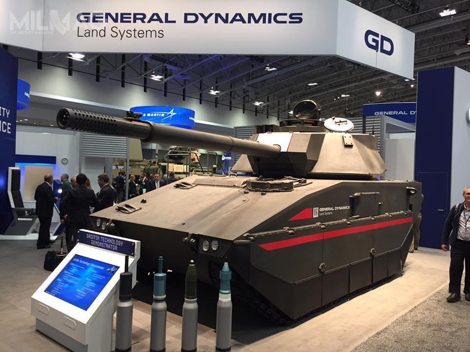 Griffin Itopojazd, którymożna zakwalifikować jako lekki czołg dla wojsk powietrznodesantowych ipiechoty. Został on wyposażony wwieżę, wykorzystującą technologie zczołgu podstawowego M1 Abrams. Demonstrator technologii ma masę poniżej 32 t. /Zdjęcie: General Dynamics Land Systems