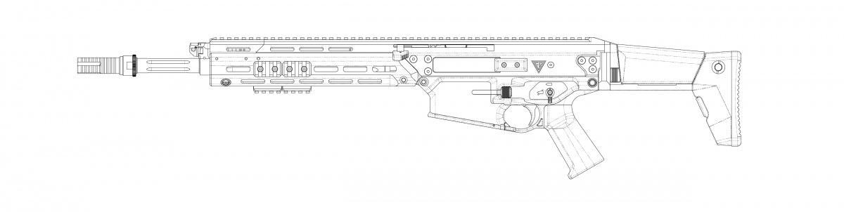 Wersja MSBS-7,62N z406-mm lufą może trafić dopododdziałów jednostek powietrznodesantowych iaeromobilnych, gdzie uzupełni broń doamunicji 5,56 mm x 45. Wynika tozdoświadczeń tych formacji zkonfliktów wIraku iAfganistanie / Rysunki: Fabryka Broni via EUIPO