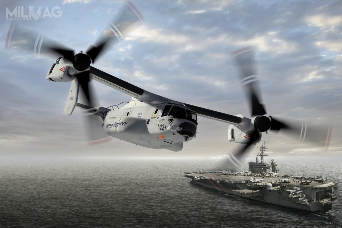 W ciągu dekady wszystkie samoloty C-2A Greyhound zostaną wycofane imisje COD będą odtąd realizować wyłącznie zmiennowirnikowce MV-22B Osprey / Grafika: Boeing