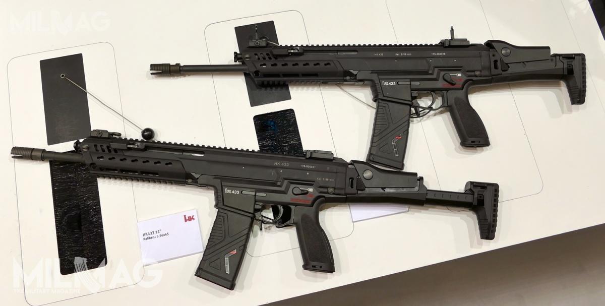 Zaprezentowane wmarcu dwa karabinki H&K HK433 czwartej serii prototypowej (PT4). Obecnie dopierwszej oceny niemieckich służb odpowiedzialnych zazakup broni trafiły nieznacznie zmodyfikowane karabinki piątej serii prototypowej (PT5)