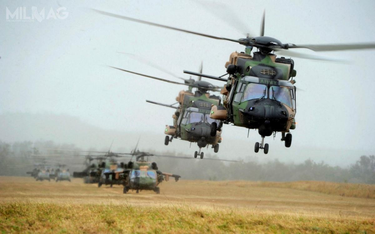 47 śmigłowców wielozadaniowych NHI NH90, które otrzymały lokalne oznaczenie MRH-90 Taipan zostało zakupionych za3,5 mld AUD (9,31 mld zł), aby zastąpić UH-1 Iroquois iS-70A-9 Black Hawk wwojskach lądowych orazWestland Sea King Mk 50A wmarynarce wojennej wramach 808. Eskadry / Zdjęcie: Departament Obrony Australii