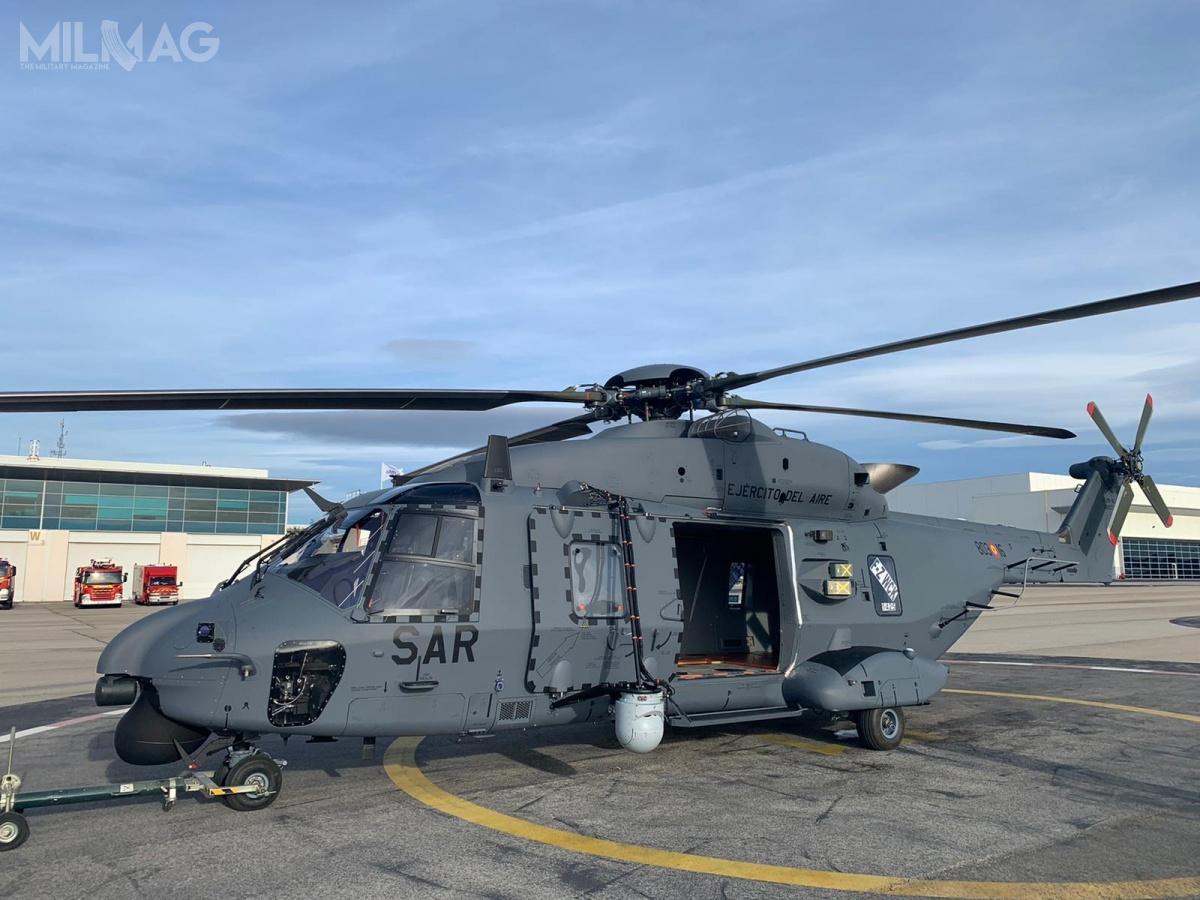 Pierwszy NHI NH90 TTH/HD.21 otrzymał nrseryjny 1423, nrtaktyczny 803-16 itymczasową francuską rejestrację F-ZWCK. Sześć zamówionych napoczątku wiropłatów orazsześć kolejnych zastąpi użytkowane AS332 Super Puma / Zdjęcie: Ejército del Aire