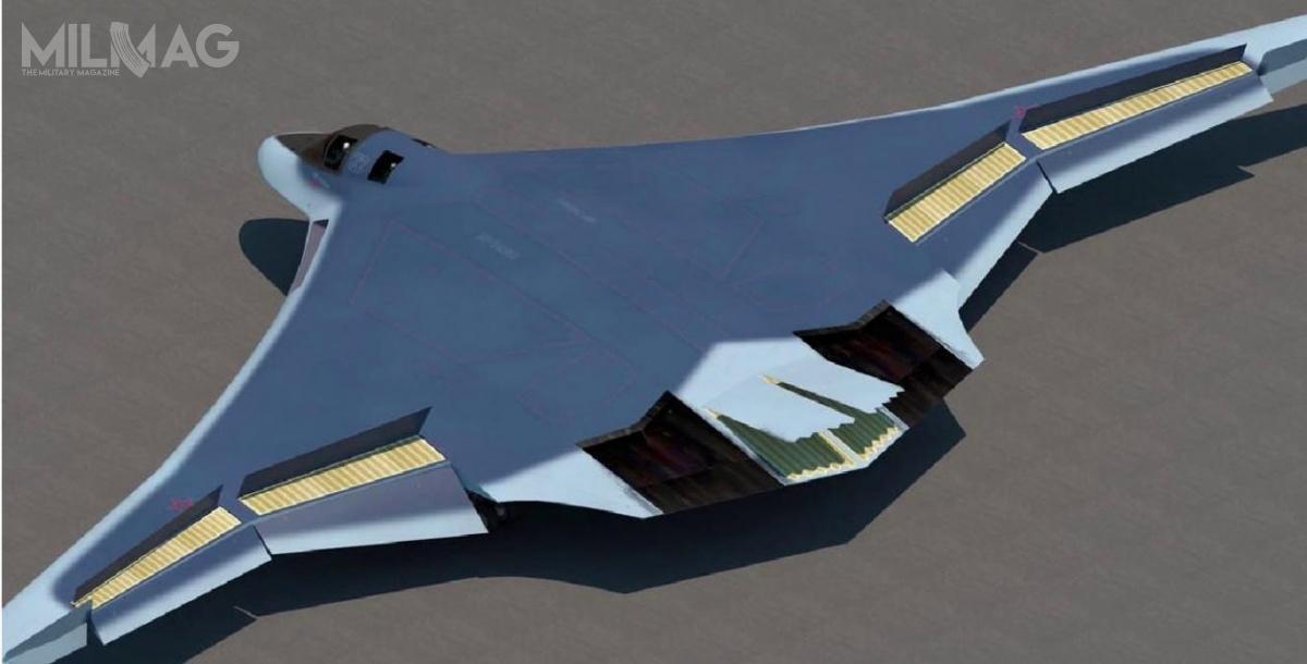 Według tych wizualizacji PAK DA będzie samolotem ozbliżonej konfiguracji jak B-2A czyB-21. Warto brać te informacje zprzymrużeniem oka. Chociażby zewzględu nazastosowanie wingletów nakońcówkach skrzydeł, które wprzypadku samolotu ozredukowanym przekroju radarowym wpraktyce zwiększają jego odbicie / Grafiki: Ministerstwo obrony Federacji Rosyjskiej
