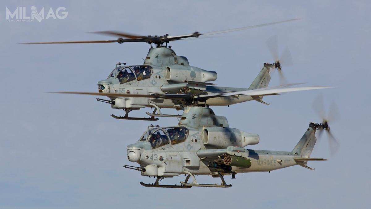 AH-1Z jest uzbrojony w20-mm działko M197 orazkierowane iniekierowane 70-mm pociski rakietowe Hydra lub APKWS II, do16 przeciwpancernych pocisków kierowanych AGM-114 Hellfire idwa pociski powietrze-powietrze AIM-9 Sidewinder, łącznie nasześciu węzłach zewnętrznych / Zdjęcie: USMC