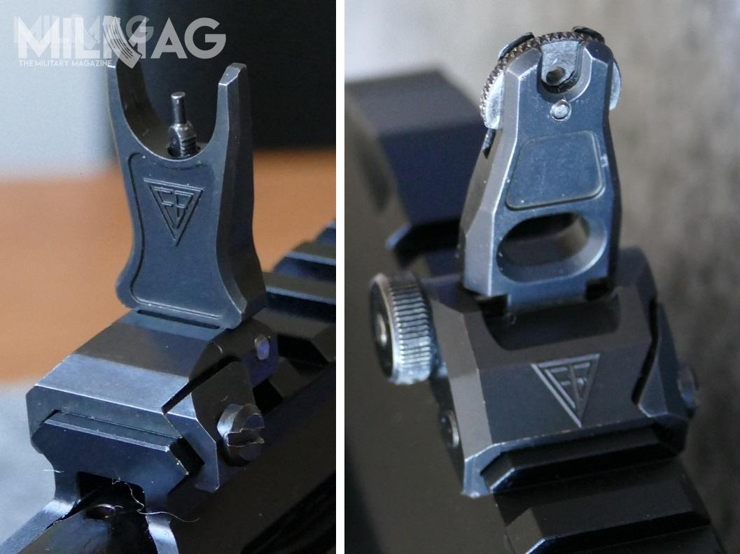 Każdy karabinek Grot C16 FBM1/MSBS-5,56KA0 kompletowany jest zzestawem mechanicznych przyrządów celowniczych osadzonych nagrzbietowej, uniwersalnej szynie montażowej NAR (NATO Accessory Rail) zgodnej zeSTANAG 4694. Przyrządy są wpostaci składanej podstawy muszki iskładanego celownika przeziernikowego odwóch nastawach (mały iduży otwór docelowania nabliskich dystansach)