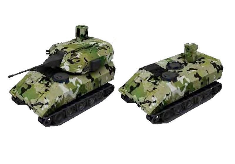 RCV będzie zrobotyzowaną platformą uzbrojoną  w30-mm armatą automatyczną, zsmu zdwoma napędowymi 7,62-mm km lub 81-mm automatyczny moździerz / Grafika: TARDEC