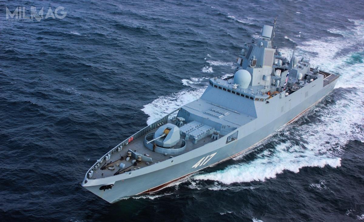 Pierwszymi okrętami uzbrojonymi wnowe pociski będą fregaty nowej generacji. Jednostki proj. 22350 mają po135 m długości i5400 t pełnej wyporności. Uzbrojenieto 130-mm armata automatyczna A-192M, 16 uniwersalnych wyrzutni pionowego startu 3S14 UKSK dla pocisków P-800 lub/i Kalibr, 32 wyrzutnie rakiet dla pocisków 9M96, 9M96M, 9M96D/9M96DM(M2) zrodziny Redut lub 9M100, dwa moduły artyleryjsko-rakietowe obrony bezpośredniej 3R89 Pałasz, 8wyrzutni 330-mm torped Pakiet-NK orazdwa 14,5-mm obrotowe wkm MTPU / Zdjęcie: Ministerstwo Obrony Federacji Rosyjskiej