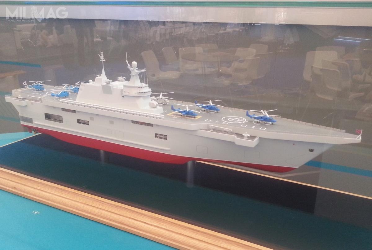 Jeden zdwóch wstępnych projektów śmigłowcowców desantowych, powstały poanulowaniu sprzedaży doRosji dwóch okrętów typu Mistral przezFrancję, wzwiązku zaneksją Krymu iwsparciem dla separatystów wDonbasie / Zdjęcie: Artiom Tkaczenko