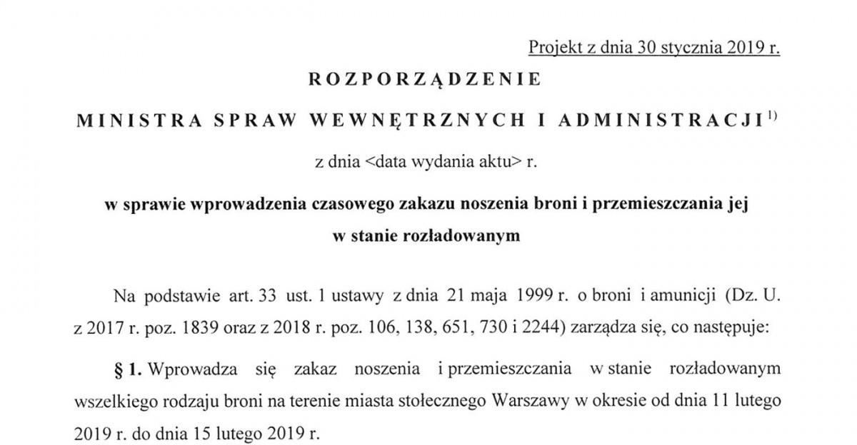 Ministerstwo Spraw Wewnętrznych iAdministracji zamierza wprowadzić czasowy zakaz noszenia broni iprzemieszczania jej wstanie rozładowanym wWarszawie od11 do15 lutego / Zdjęcie: MSWiA