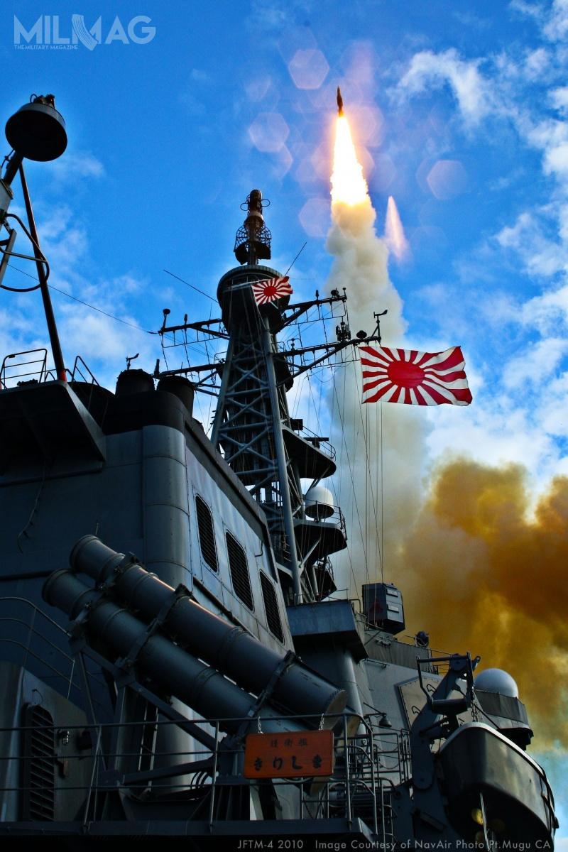 W grudniu 2007 niszczyciel rakietowy JS Kongō (DDG-173) jako pierwszy japoński okręt zestrzelił cel balistyczny zapomocą pocisku SM-3 Block IB. Wlistopadzie 2008 siostrzany JS Chōkai (DDG-176) przeprowadził nieudaną próbę tego pocisku. Udane próby zaliczyły zatokolejne niszczyciele tego typu, JS Myōkō (DDG-175) wpaździerniku 2009 iJS Kirishima (DDG-174) wpaździerniku 2010. /Zdjęcie: Naval Air