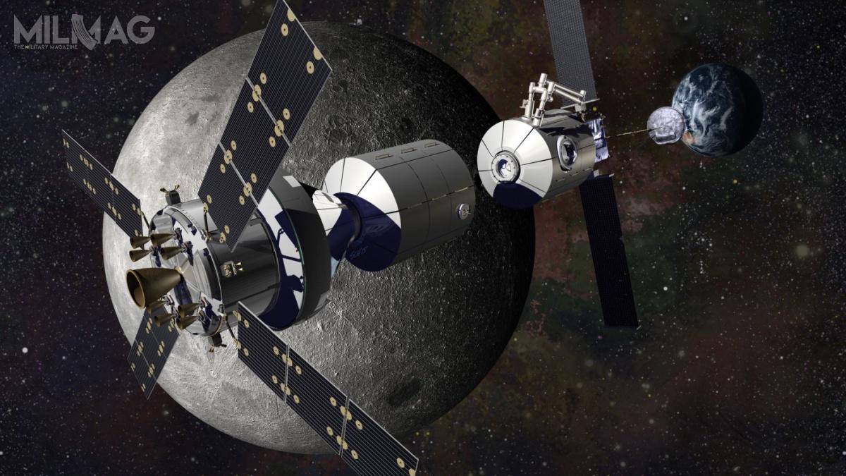 Jedna zkoncepcji stacji Gateway, proponowana przezLockheed Martin, zakładała wykorzystanie modułów opartych nakoncepcji MPLM (Multi-Purpose Logistics Module), zbudowanych przezThales Alenia Space wcelu zaopatrywania ISS. Amerykański koncern zajmuje się także opracowaniem kapsuły załogowej Orion MPCV / Grafika: Lockheed Martin