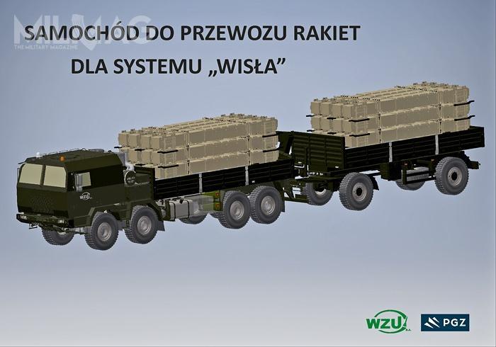 Na samochodzie transportowo-załadowczym oraznaczepie będzie transportowanych po12 kontenerów zrakietowymi pociskami przechwytującymi PAC-3 MSE. Wybór Jelczy wynika zzałożeń ujednolicenia floty samochodów wbaterii Wisła / Grafiki: WZU